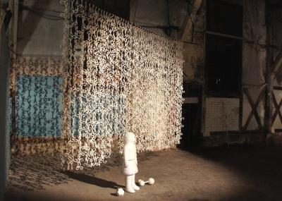 """Vue d'exposition """"immaculée conception"""", La Semencerie, Strasbourg"""