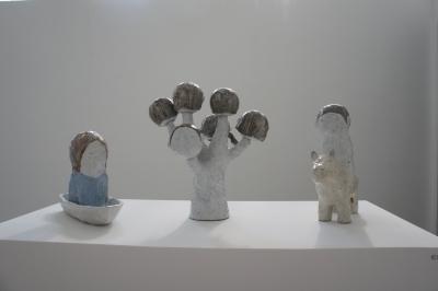 Exil, 3 sculptures, Grès émaillé